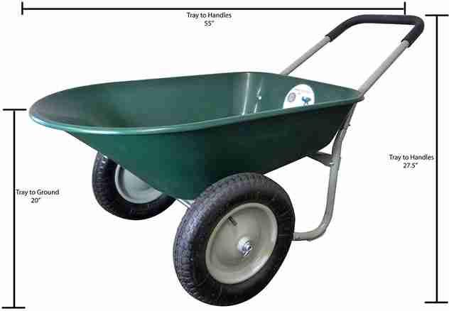 Marathon Dual-Wheel Wheelbarrow and Yard Cart