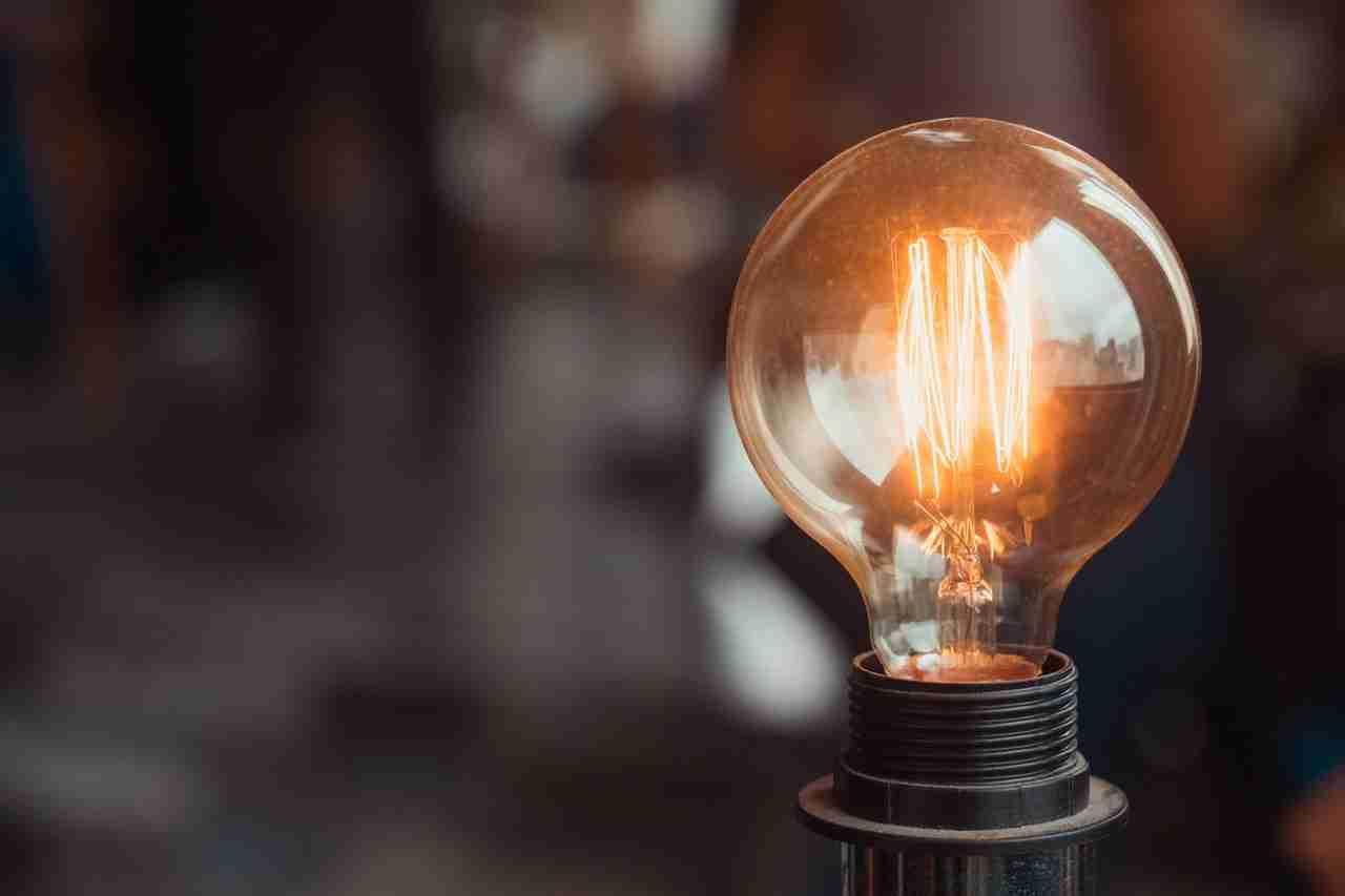 focus of turned on light bulb
